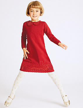 Cotton Rich Knitted Sequin Dress (3 Months - 6 Years), RED, catlanding