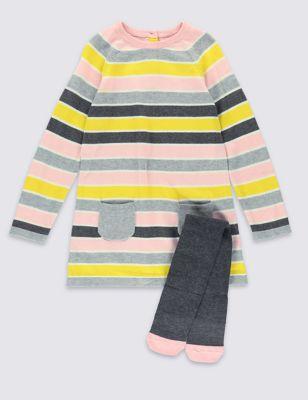 Вязаное платье в полоску с колготками для девочки 1-7 лет
