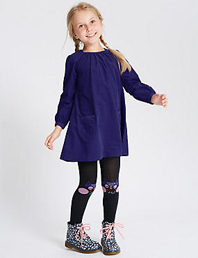 2 Piece Cord Dress with Tights (1-7 Years), PURPLE, catlanding