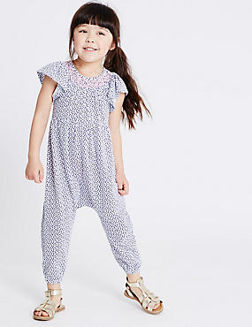 Pure Cotton Spotted Jumpsuit (3 Months - 5 Years), IVORY MIX, catlanding