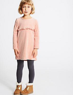 Velour Dress (3 Months - 6 Years), PINK, catlanding