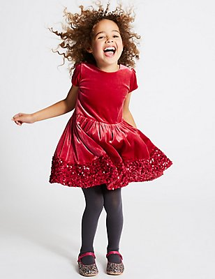 Velvet Sequin Hem Dress (1-10 Years), RED, catlanding