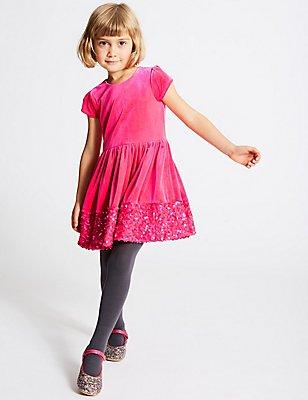 Velvet Sequin Hem Dress (1-10 Years), PINK, catlanding
