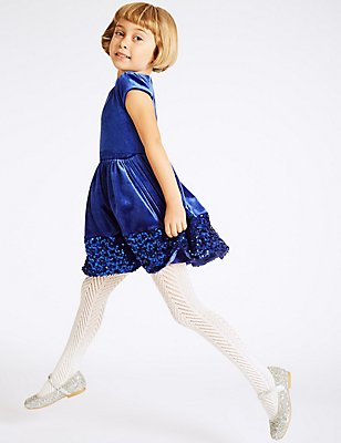 Sequin Base Velvet Dress (1-10 Years), BLUE, catlanding