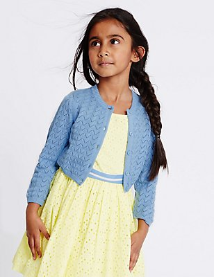 Pure Cotton Crochet Cardigan (1-10 Years), BLUE, catlanding
