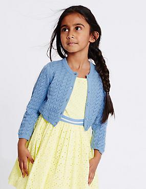 Pure Cotton Crochet Cardigan (1-10 Years), BLUE, catlanding