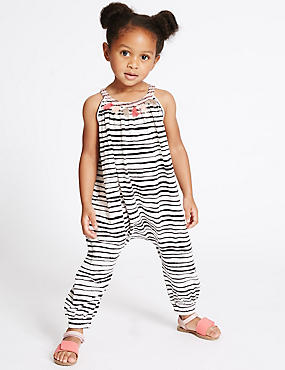 Pure Cotton Striped Jumpsuit (3 Months - 5 Years), IVORY MIX, catlanding