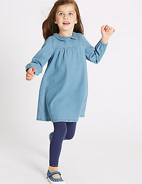 Pure Cotton Long Sleeve Dress (3 Months - 5 Years), DENIM, catlanding
