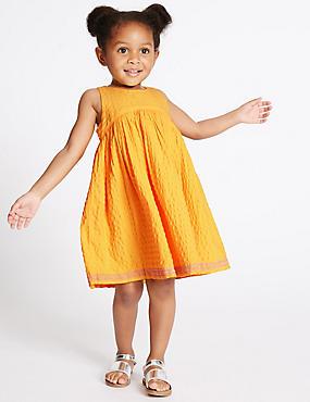 Besticktes Kleid aus reiner Baumwolle (3 Monate–5 Jahre), GELB MELANGE, catlanding