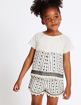 2 Piece Pure Cotton Top & Shorts Outfit (3 Months - 5 Years), MULTI, catlanding