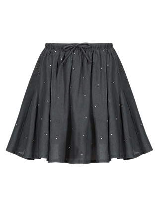 Pure Cotton Stud Embellished Mini Skirt (1-7 Years) Clothing
