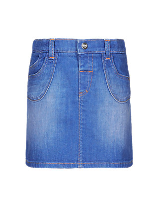 Cotton Rich Adjustable Waist Denim Skirt (1-7 Years) Clothing