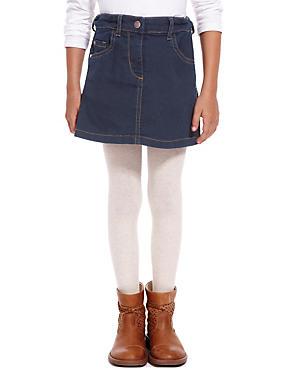 Cotton Rich with Stretch 5 Pockets Denim Skirt (1-7 Years), DARK DENIM, catlanding
