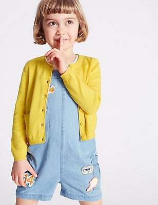 Pure Cotton Fine Gauge Cardigan (3 Months - 5 Years), YELLOW MIX, catlanding