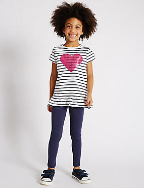 2 Piece Cotton Rich Heart Appliqué Top & Leggings Outfit with StayNEW™ (1-7 Years)