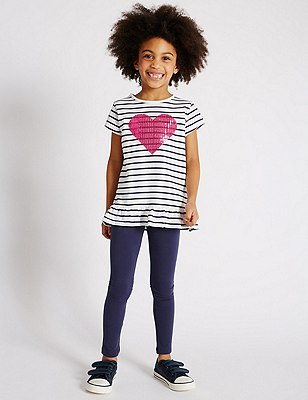 2 Piece Cotton Rich Heart Appliqué Top & Leggings Outfit with StayNEW™ (1-7 Years), MULTI, catlanding