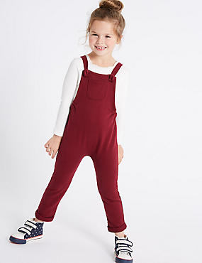 Cotton Rich Dungarees (3 Months - 6 Years), RED, catlanding