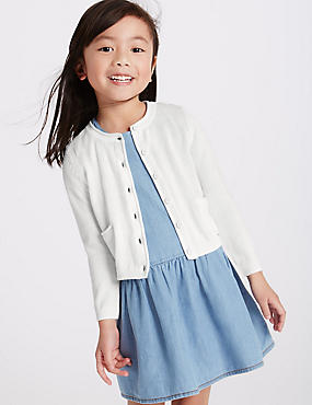 Pure Cotton Long Sleeve Cardigan (3 Months - 5 Years), WINTER WHITE, catlanding