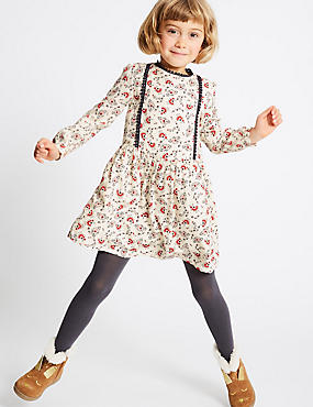 2 Piece Flower Print Dress with Tights Outfit (3 Months - 6 Years), IVORY MIX, catlanding