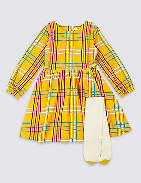 2 Piece Checked Dress with Tights Outfit (3 Months - 5 Years), YELLOW MIX, catlanding