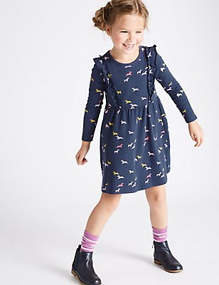 Pure Cotton All Over Print Dress (3 Months - 5 Years), NAVY MIX, catlanding