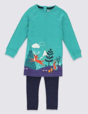"""Хлопковый комплект """"Оленёнок и зайчик"""": платье и леггинсы для девочки 1-7 лет T774136D"""