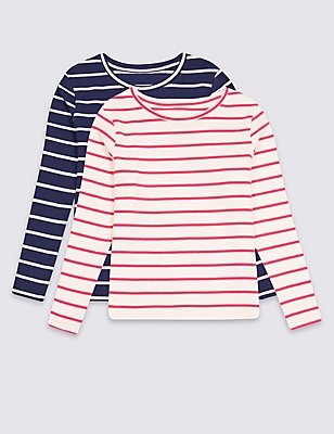 2 Pack Cotton Tops with Stretch (3 Months - 5 Years), MULTI, catlanding