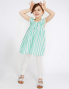 2 Piece Cotton Rich Striped Top & Leggings Outfit (3 Months - 5 Years), GREEN MIX, catlanding