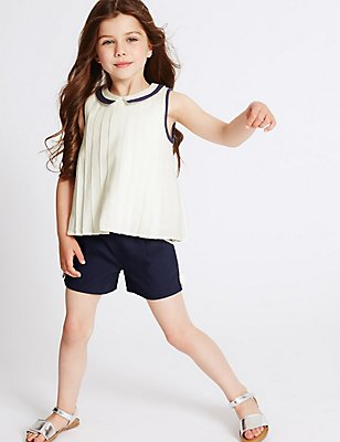 2 Piece Pure Cotton Top & Shorts Outfit (3 Months - 5 Years), NAVY MIX, catlanding