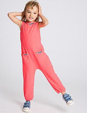 Cotton Blend Jumpsuit (3 Months - 7 Years), NEON PINK, catlanding