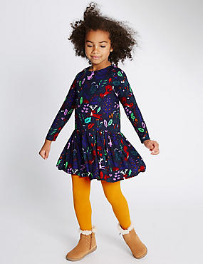 2 Piece Dress with Tights (1-7 Years), NAVY MIX, catlanding