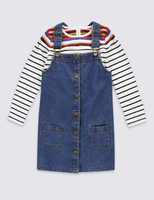 Комплект Pinny из чистого хлопка для девочки 1-7 лет: джинсовый сарафан и топ T774146Z