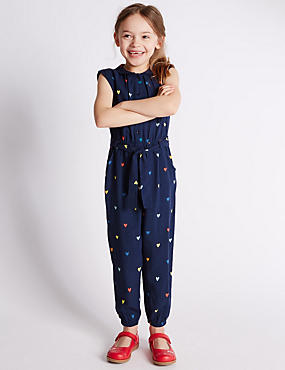 Heart Print Belted Jumpsuit (1-7 Years)