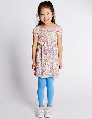 2 Piece Cotton Rich Floral Dress & Leggings Outfit (1-7 Years), MULTI, catlanding