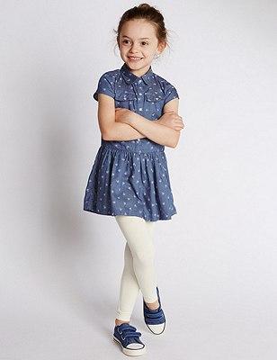 2 Piece Denim Dress & Leggings Outfit (1-7 Years), DENIM, catlanding