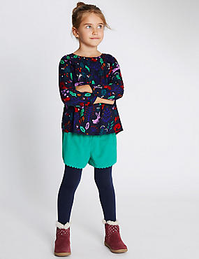 3 Piece Top & Shorts with Tights (1-7 Years), NAVY MIX, catlanding