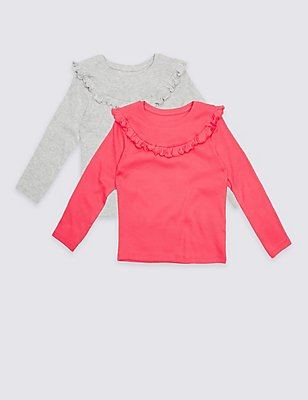2 Pack Cotton Rich Frill Tops (3 Months - 5 Years), PINK MIX, catlanding