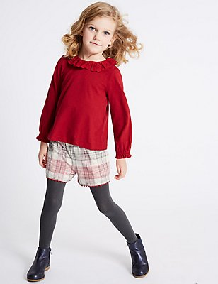 3 Piece Top & Shorts with Tights (3 Months - 6 Years), RED MIX, catlanding
