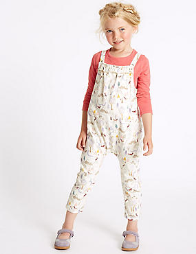 Pure Cotton Dungarees (3 Months - 5 Years), IVORY MIX, catlanding