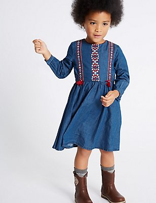 Pure Cotton Embroidered Dress (3 Months - 6 Years), DENIM MIX, catlanding