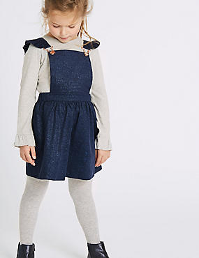 Pure Cotton Frill Pinafore (3 Months - 6 Years), NAVY MIX, catlanding