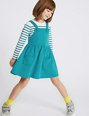 2 Piece Top & Pinafore Outfit (3 Months - 7 Years), BLUE, catlanding