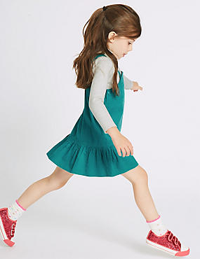 2 Piece Top & Pinafore Outfit, GREEN MIX, catlanding