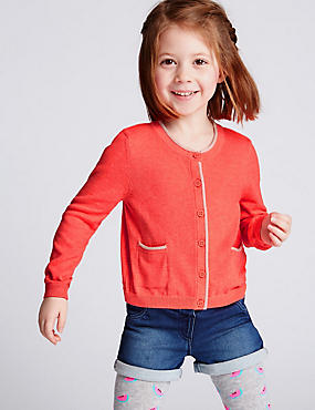 Cotton Rich Long Sleeve Cardigan (3 Months - 5 Years), CORAL, catlanding
