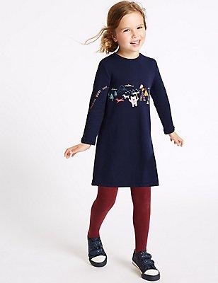 Vestido suéter de algodón (3meses-5años), MEZCLA DE ROJOS, catlanding