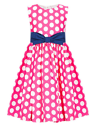 Pure Cotton Spotted Prom Dress (1-7 Years) Clothing