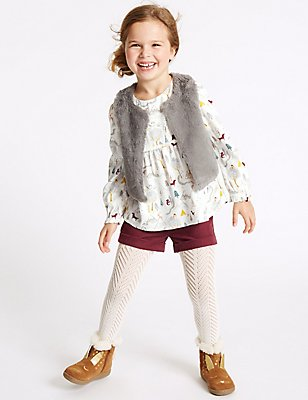 3 Piece Top & Gilet with Shorts (3 Months - 5 Years), MULTI, catlanding