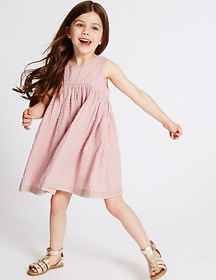 Pure Cotton Embroidered Hem Dress (3 Months - 5 Years), PINK, catlanding