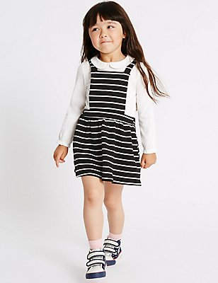 2 Piece Top & Pinafore Outfit (3 Months - 5 Years), BLACK MIX, catlanding