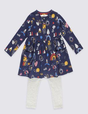 Комплект из чистого хлопка для девочки 3 мес - 5 лет: платье с рисунком и карманами и однотонные леггинсы T774950G